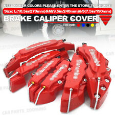 6x Red 3D Brake Caliper Covers Style Disc Universal Car Front Rear Kit L+M+S WL1
