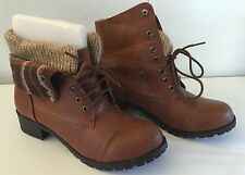 Loanna Medium Brown Convertible Lace-Up Booties Knit Interior Sz 6 **NIB**