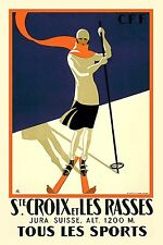 SKIING ART DECO VINTAGE SKI Poster Reproduction Rolled CANVAS PRINT 24x33 in.