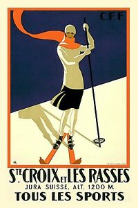Art Deco Vintage Ski Poster Reproduction Rolled Canvas Print 24x32 in.