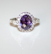 STERLING SILVER 10MM X 8MM AMETHYST CZ CUBIC ZIRCONIA SOLITAIRE RING SIZE M US 6