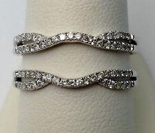 Size 6 14k White Gold Split Shank Solitaire Enhancer Diamonds Ring Guard Wrap