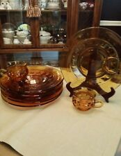 6 Amber VTG Rare Thumbprint Sandwich Dishes w/Cup Set. Absolutely Beautiful