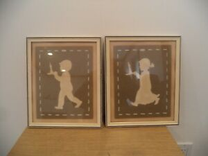 """ORIGINAL ENAMEL OVER WOOD FRAME 1942 SILHOUETTE PICTURE - BEAUTIFUL 10 X 12"""""""