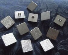 70's SILVER METAL BUTTONS, SQUARE TEXTURED 2.25 CM with SHANK BACKING, AUSTRALIA