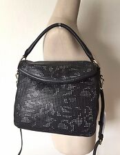 Cole Haan Black Ivory Perforated Leather Magnolia Crossbody Messenger Hobo NWT