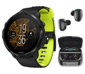 SUUNTO 7 Black Lime Sports GPS Smartwatch with Wearable4U EarBuds Power Bundle
