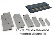 6 Pce 3/8'' - 2-1/4'' Adjustable Parallel Set Precision Steel Measurement Tool