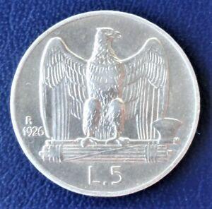 Italy 5 lire 1926  Silver.  Vittorio  Emanuel III  (1900-1946)