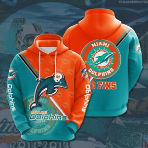 Miami Dolphins Hoodies Football Hooded Sweatshirt 3D Casual Jacket Pullover Coat