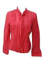T TAHARI Women Medium Blazer Jacket Coral Long Sleeve Zip up Embroider