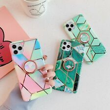 Hot Ring Bracket Fashion Plating Marble Women Girl Case Cover For Various Phones
