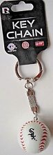 """CHICAGO WHITE SOX BASEBALL KEY CHAIN WITH """"STITCHES"""" AND """"DESCENDING"""" SOX LOGO"""