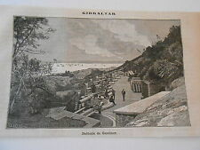 Gravure 1882 - Gibraltar Batterie de Gardiner