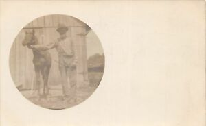 G68/ Occupational RPPC Postcard c1910 Horse Breeder Farmer Barn 9