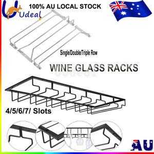 Wine Glass Cup Holder Hanging Bar Hanger Steel Wine Rack Shelf Champagne Storage