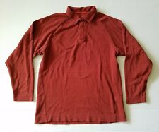 EUC Patagonia Mens Medium Long Sleeve Orangish Red Polo Shirt Cotton Blend
