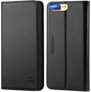 SHIELDON Genuine Leather iPhone 8 Plus Wallet Case Book Flip Cover and Black