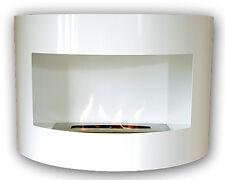 Gel y etanol chimenea acero de pared Riviera Deluxe Blanco + quemador 1 litro