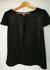 Black sparkly Top Size 14 Black swing top black sequin top black strip top