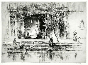 "English Etching/Paper SYDNEY LITTEN Venetian Steps 10.75"" x15"""