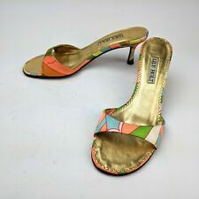 Lily Holt Open Toe Sandals Heel Angelfish Pink Orange Deco Fabric Leather Size 6