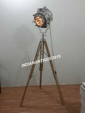 NAUTICAL THEATER SPOTLIGHT FLOOR LAMP CHROME LARGE SEARCHLIGHT LAMP