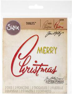 Sizzix Thinlits Dies Tim Holtz 2/Pkg Retro Merry Christmas Stanzform Weihnachten