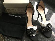 Giorgio Armani Ladies Black Heeled Strappy Shoes Size 37 / 4 Great Con RRP £295