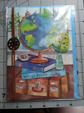 Papyrus World Atlas Card With Charm Blank Inside