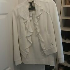 NWT White House Black Market White Ruffled and fitted Skirt Suit Set, size 6