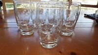 VIntage WHeel Cut Floral Tumblers Footed Drinking glasses 8 12 ounce elegant
