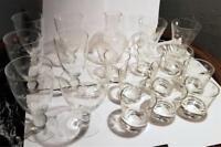 Mid Century FLORAL Etch Wine Cocktail Glasses Goblets BALL Stem - 1950s 19pc Set