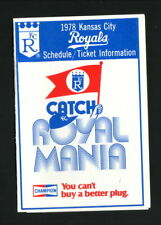 Kansas City Royals--1978 Pocket Schedule--Champion Spark Plugs