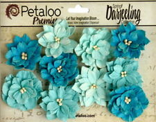Dahlia Mix TEAL 10 Teastained Paper Flowers 40mm across Darjeeling Petaloo Ver