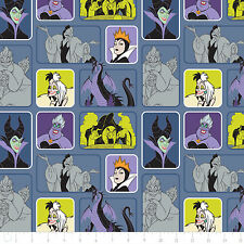 Disney Villains Wicked Women Light Blue Camelot 100% Cotton fabric by the yard