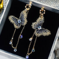 Lovely Women Embroidery Butterfly Crystal Tassel Dangle Earrings Wedding Jewelry