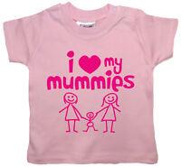 "Baby T-Shirt LGBT ""I Love My Mummies"" Girl Boy Gay Lesbian Pride"