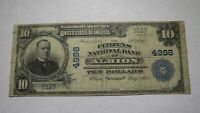 $10 1902 Albion New York NY National Currency Bank Note Bill! Ch. #4998 FINE!