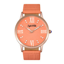Sophie and Freda Sonoma Women's Coral Leather Swarovski Crystal Watch SF4405