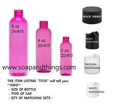 4 oz PINK Bullet Plastic Bottle -PET- 12 bottles & 12 NATURAL PUSH TOP DISC Lids