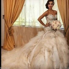 Organza Lace Wedding Dress Bridal Dress Beaded Ball Gowns Custom Size 4-26+