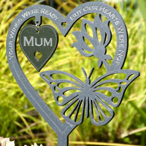 Personalised Memorial Plaque Heart - Butterfly Grave Marker Remembrance Sympathy