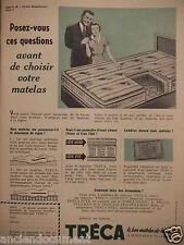PUBLICITÉ 1953 TRÉCA LE SEUL MATELAS A SUSPENSION PULLMAN - ADVERTISING
