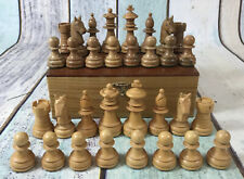 Vintage Weighted Staunton Wooden Chess Pieces In Wooden Box K = 65mm