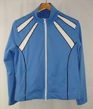 Oleg Cassini Sport Women's Full Zip Track Suit Top Jacket Blue White Black L