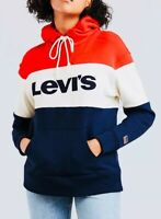 Levi's Women's Sport Hoodie Raw Cut Colour block in Red/Navy/White