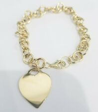 14k Yellow Gold Heart Bracelet Charm Ladies Kids Double Link 7.5 Inches