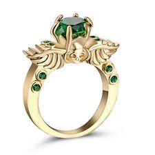 Jewelry Size 9 Green Emerald Engagement Ring 18K yellow Gold Filled Wedding