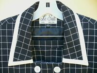 VTG LE SUIT SET 2 PC WINDOWPANE 6 S BLACK IVORY PLAID BLOUSE SKIRT FITTED WOMEN